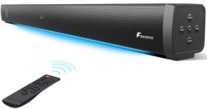 Foxnovo Sound Bars For TV 60W Deep Bass TV Sound Bar With Breathing Light Wired & Wireless