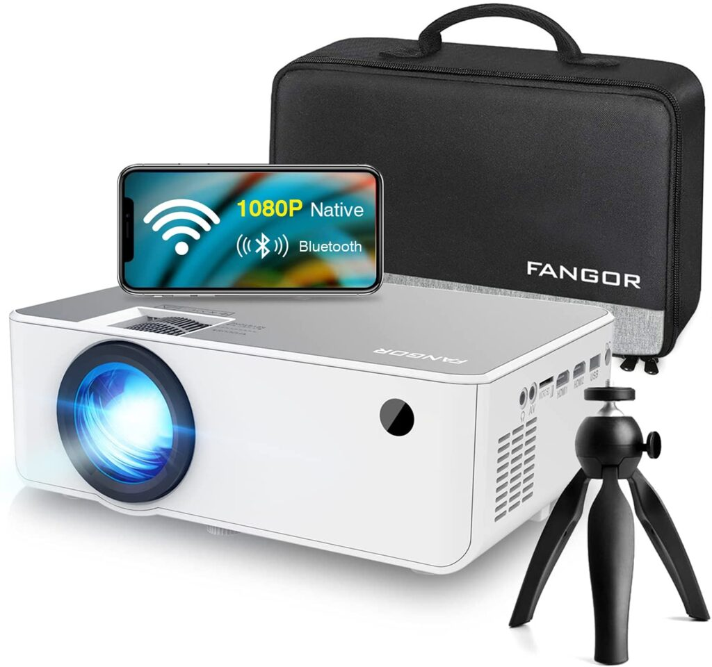 1080P HD Projector, Wi Fi Projector Bluetooth Projector, FAGOR 230 Portable Movie Projector With Tripod