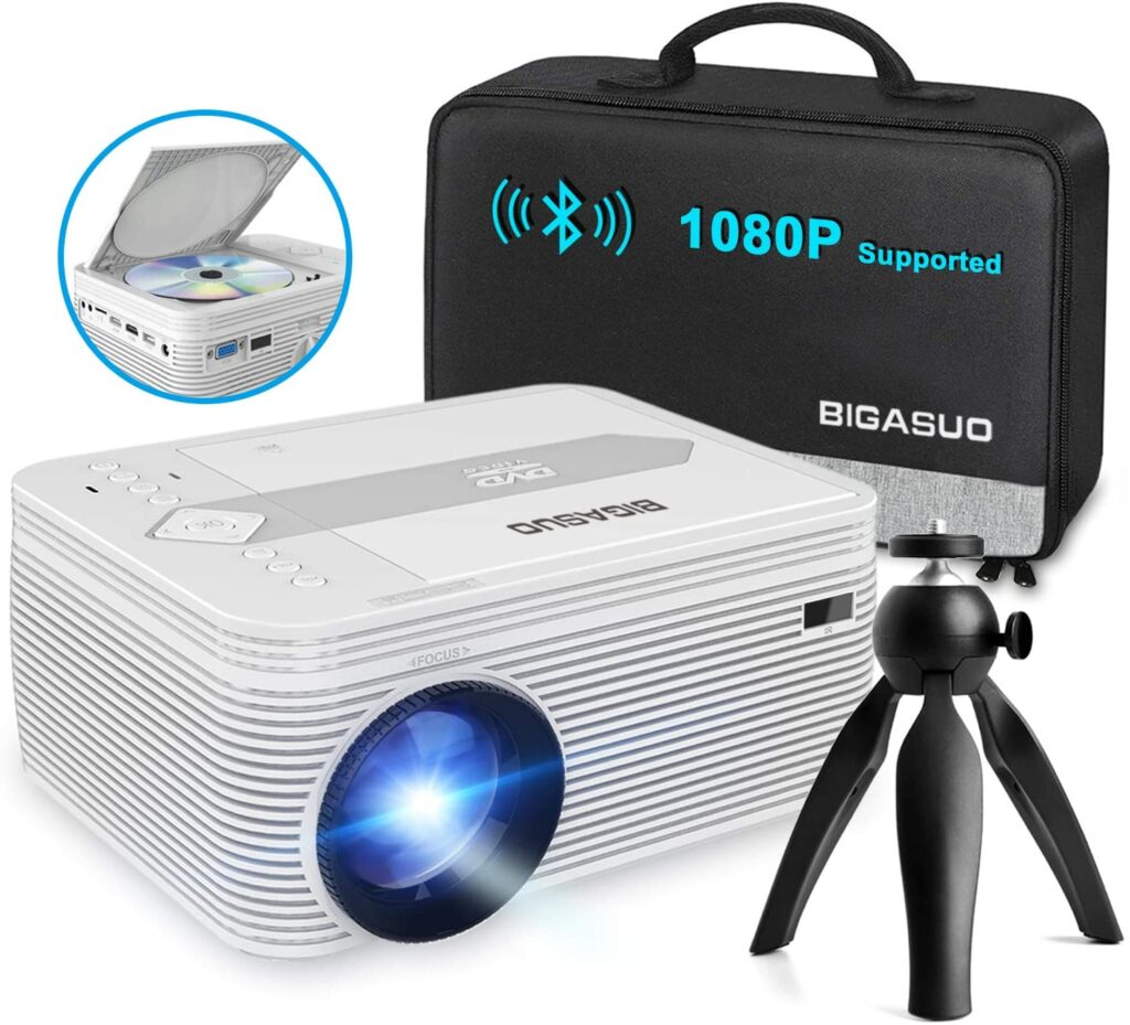 BIGASUO [2021 Upgrade] Full HD Bluetooth Projector With Built In DVD Player